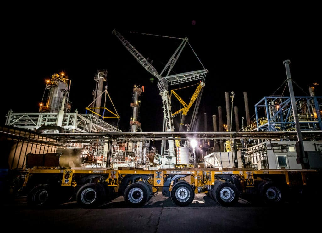 Refining process in construction. Goldhofer in action night time shot
