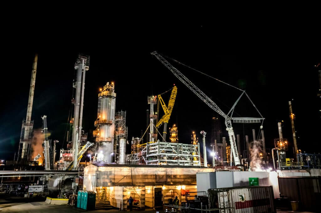 refining processes in construction night time photo shot